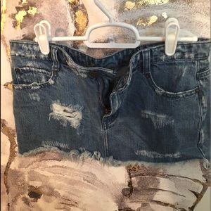 Free People Ripped Mini Skirt - Denim Wash